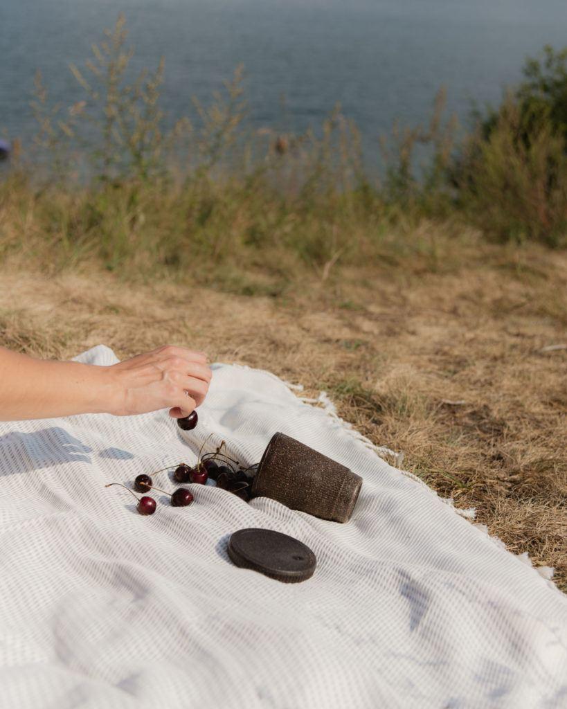 Picknickdecke mit dem Weducer Cup gefüllt mit Kirschen neben dem Weducer Cap
