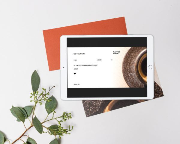 Digitaler Kaffeeform Geschenkgutschein